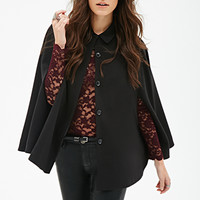 FOREVER 21 Collared Button-Front Poncho Black
