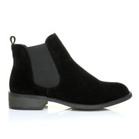 APRIL Black Faux Suede Classic Low Heel Chelsea Ankle Boots
