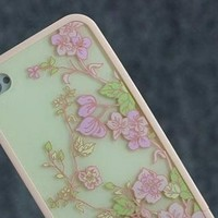 Sole Trader New Iphone 4/4s Protective Case Baby Pink Tea Flower Skin Cover