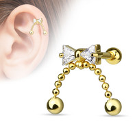 Bow Cartilage Tragus Helix Earring Gold 16ga 316L Surgical Steel Upper Ear Helix Body Piercing Jewelry