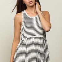 POL Clothing Babydoll Tank Top for Women in Black and White Stripes YE14-STRIPE