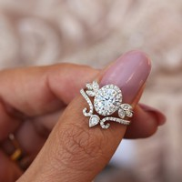 Oval moissanite and diamonds - Minimal Lily Paired with Ariana Ring Set