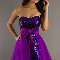 Strapless Purple Prom Dress by Dave & Johnny