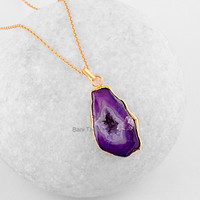 Purple Slice Agate Druzy Pendant - Wholesale Pendant Necklace - Micron Gold Plated 925 Sterling Silver Necklace #6607