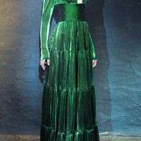 Long Sleeve Cut Out Front Velvet Gown | Moda Operandi