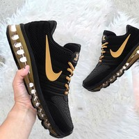NIKE Air max Sneakers Running Sports Shoes Black Gold