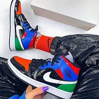 NIKE Air jordan 1 Mid se patent aj1 color stitching casual shoes