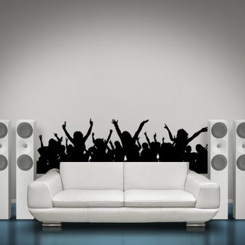 Silhouette Wall Decal Rock Star Crowd Audience Wall Decal Art