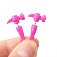 Fake Gauge Earrings: Realistic Hammer Shaped Front and Back Stud Earrings in Pink