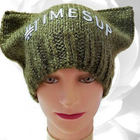 PussyHat, Green PussyHat, Pink PussyHat, Project, TimesUp, Time's Up, Hat, Winter Hat, Knit Hat, Green Hat, Cat Hat, Pussy Cat Hat, Me Too