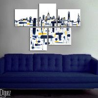 """Made to order. Original abstract painting. 5 piece canvas art. 29x41"""" Large painting of New York's skyline. Modern wall art. Contemporary"""