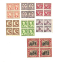 7 Different Vintage Postage US Stamps Blocks Including 1926-1928 Abe Lincoln 3 Cents 635 Mint Hinged Nice Variety of Stamp Blocks