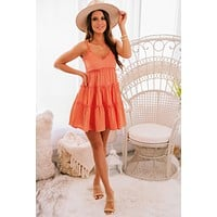 Won't Forget Me Tiered Ruffle Dress (Coral)