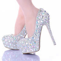 AB Crystal Diamond Exquisite Wedding Shoes Sparkling  Rhinestone Handcraft Bridal Shoes Thin Heel Evening Prom Party Women Pumps