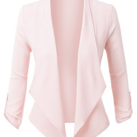 LE3NO Womens Semi Sheer Textured 3/4 Sleeve Open Front Cropped Cardigan Blazer (CLEARANCE)