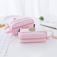 Fashion Grid Pink Canvas Women Travel Toiletry Make Up Makeup Case Storage Pouch Cosmetic Bag Purse Organizer
