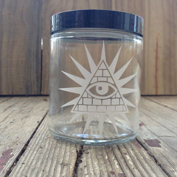 All Seeing Eye | Stash Jar | Glass | Free Masonry