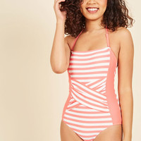 Down for a Dive One-Piece Swimsuit in Pink | Mod Retro Vintage Bathing Suits | ModCloth.com