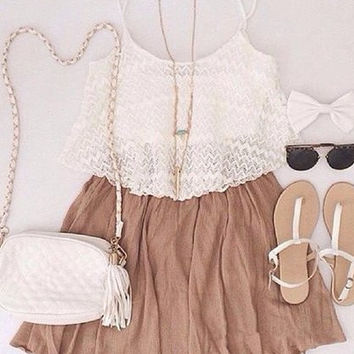 White Cami Top Brown Pleated Faux Twinset Dress