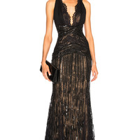 Zuhair Murad Embellished Lace Sleeveless Gown in Black | FWRD