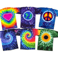 Adult TieDye Tee Your Choice Peace Sign-Earth-Spiral-Sunflower and others Tie Dyed Short Sleeve 100 percent Cotton T-Shirts