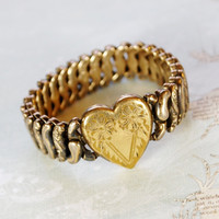 Vintage Expansion Bracelet, Heart Sweetheart, Gold Filled Sterling Silver, PITMAN KEELER, 1940s WWII Jewelry, Valentines Day Gift