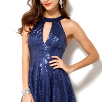 Sequined Keyhole Babydoll Dress in Navy