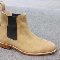 New Handmade mens Chelsea Tan suede leather boots Men camel suede leather boot