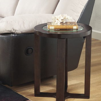 Ashley Furniture T477-6 Marion collection dark brown finish wood and glass top end table