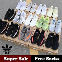 Original Adidas YEEZY Boost 350V2 Sports Running Shoes Breathable Comfortable Sneakers Zebra/Triple White/Sesame/Beluga