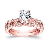 Auriya 14k Gold Vintage-Inspired 4/5ct TDW Diamond Engagement Ring Bridal Set | Overstock.com Shopping - The Best Deals on Bridal Sets