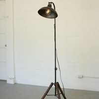 Floor Lamp With Antique Metal Dome Shade & Wooden Stand