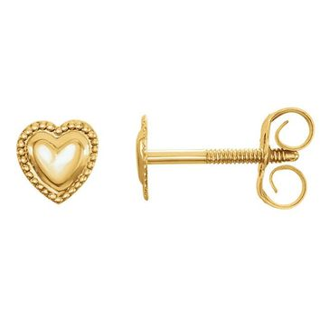14K Yellow Gold Youth Heart Earrings