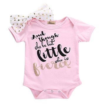 New Style Newborn Infant Baby Girls Clothes Short Sleeve Romper Jumpsuit+ Headband 2Pcs Outfits Baby Clothing 0 to 18M