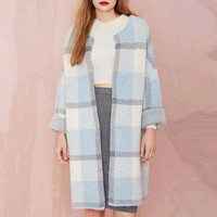 Plaid Round Neck Button Front Knitted Coat