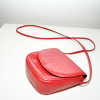 Vintage Anne Klein Purse ADORABLE RED with long strap by Continual