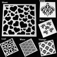 Rose Flower Heart Wave Painting Stencils Plastic Embossing Template DIY Scrapbooking Album Paper Cards Ornament Accessories