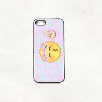 Peace emoji kiss iPhone 5 5s 4 4s Hard Case Black/White/Transparent Grunge Indie Hipster vintage Tropical Summer Tumblr One direction 5sos
