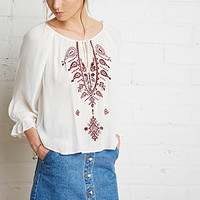 Paisley Embroidered Peasant Top