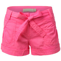 LE3NO Womens Lightweight Cargo Shorts with Pockets (CLEARANCE)