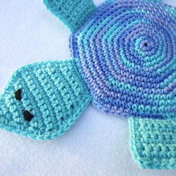 Turtle Pot Holder Crocheted Turtle Hot Pad in Blue, Lavender and Light Teal, Turtle Trivet by Crocheted by Charlene, Frozen Colors Inspired