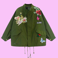 Military jacket patch work grunge style coat jacket