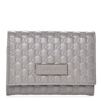 Gucci Microguccissima Loess Grey Leather Cardholder Wallet