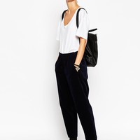 ASOS WHITE Tapered Trousers in Cord