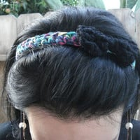 Crochet Headband with Bow - Multicolored - Black bow - mermaid inspired - Christmas - holiday - gifts for her - women's gifts - teen gifts