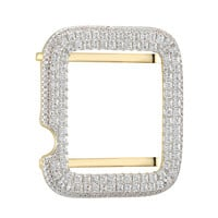 14k Gold Finish Sterling Silver Iced Out Custom Princess Cut 38mm Bezel Apple Watch Series 2