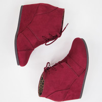 Faux Suede Burgundy Wedges