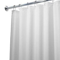 InterDesign Mildew-Free Water-Repellent Fabric Shower Curtain, 72-Inch by 72-Inch, White