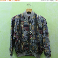 15% SALES Vintage GINGISS Royalty Swag Baroque Abstract Pop Art Picasso Style Luxury Silk Hip hop Bomber Jacket