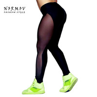 M-L Women's Leggings Fashion Sexy Splice Transparent High Waist Leggings Black Net Yarn Patchwork Spandex Girls Leggings Women